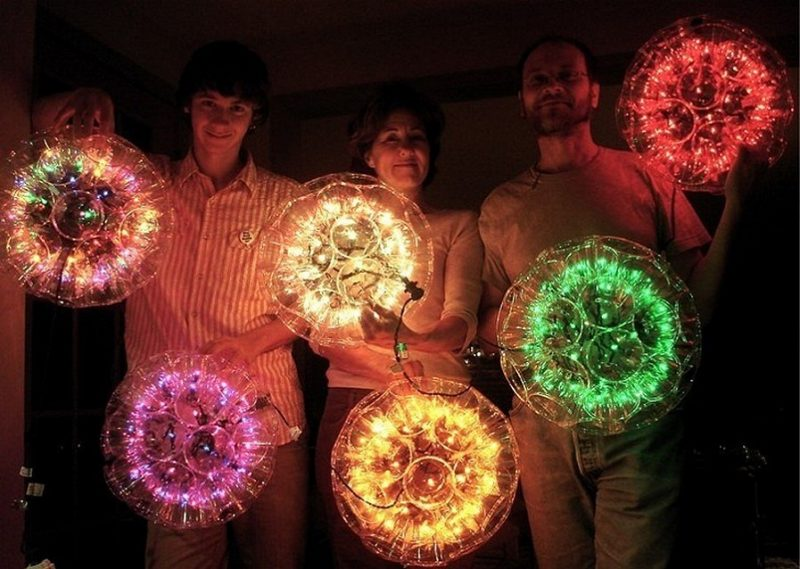 Christmas light balls with plastic cups