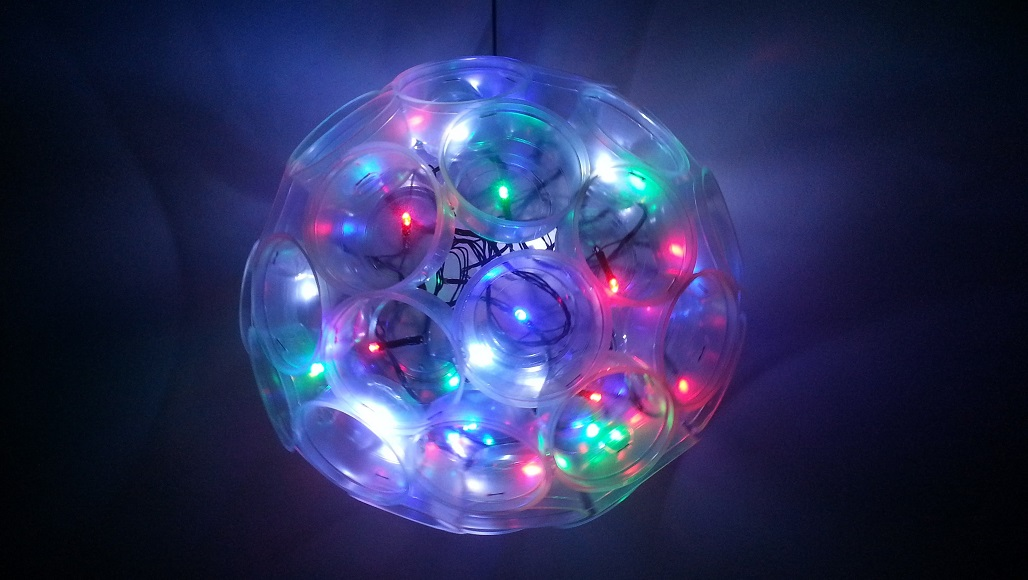 decorative ball light made with cups